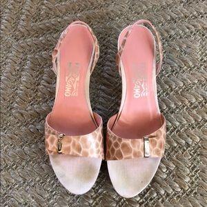 Pink snakeskin Ferragamo heels